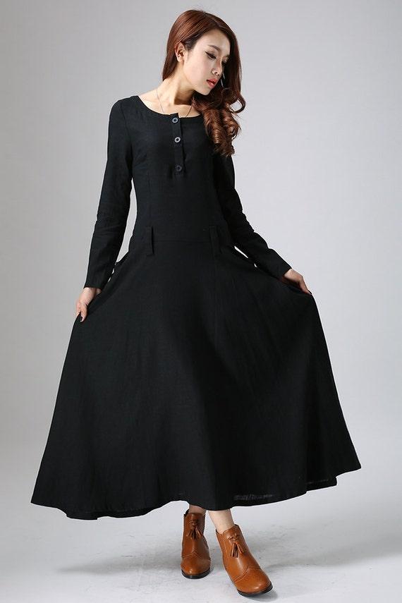 Ähnliche Artikel wie Schwarzes Kleid Frauen, Maxi-Leinen ...