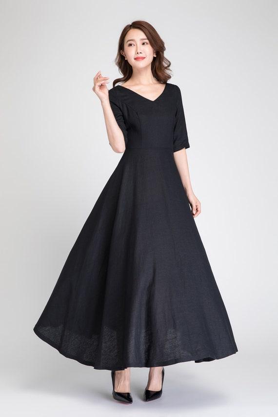 Prom Dress Long Black Linen Dress Formal Dress Maxi Dress Etsy