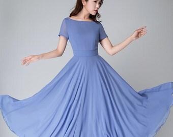 Blue dress women, blue dress, chiffon dress, bridesmaid dress, summer dress, women dresses, short sleeve dress, handmade dress 1523