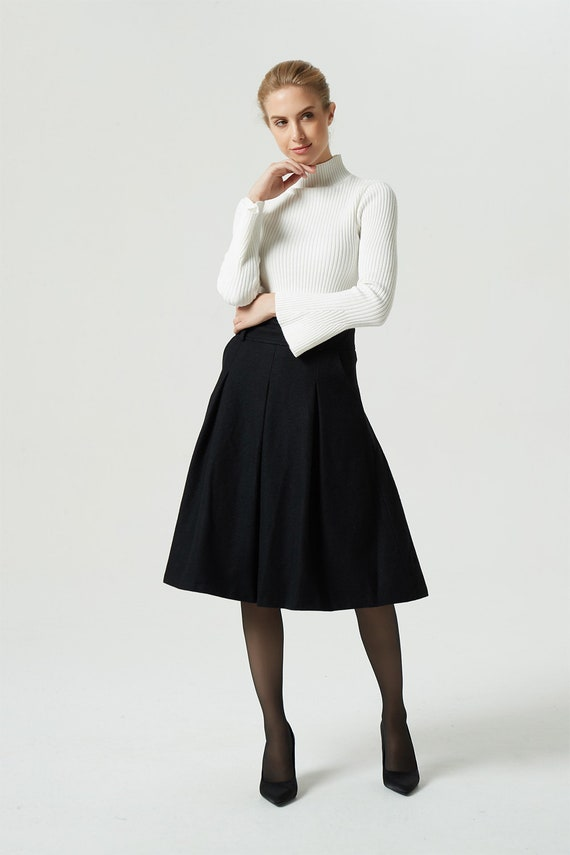 knee skirt custom A winter woman skirt pleated length black line skirt 1991 pocket skirt skirt skirt skirt skirt wool midi skirt 5HxqaZ
