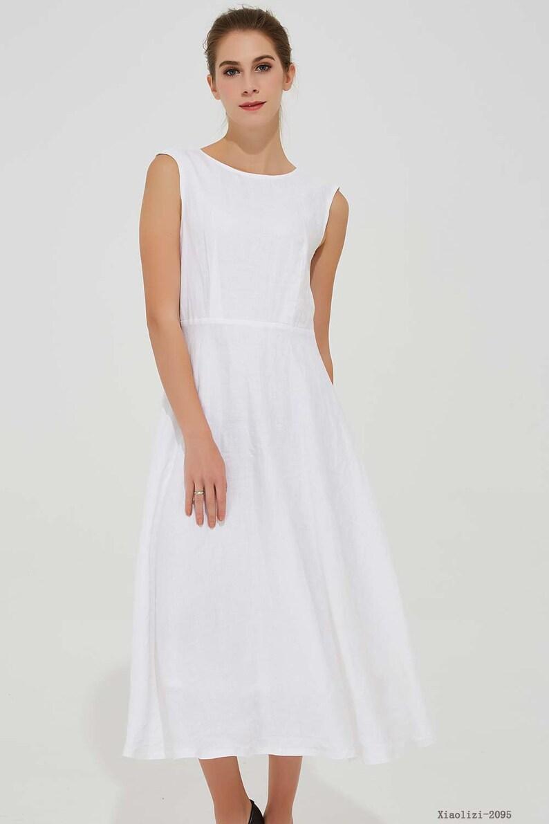 classic linen dress, white dress, summer dress, sleeveless dress, elegant dress, midi linen dress, womens dresses, wedding dress 2095#