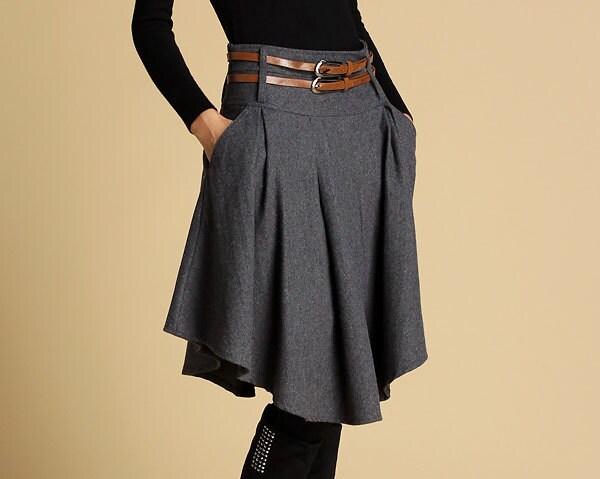 Gray wool skirt, womens skirts, skater skirt, mini skirt, wool skirt, pleated skirt, winter skirt, skirt with pockets, womens wool skirt 359