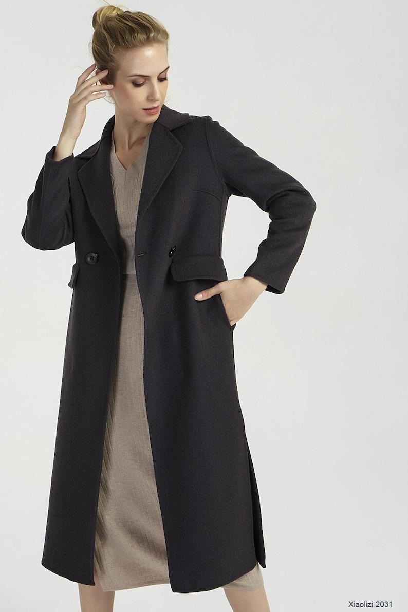 separation shoes b1f0c 1c45c Schwarzer Wollmantel, doppelte Zweireiher Mantel, langer Wollmantel, Damen  Wintermantel, benutzerdefinierte Mantel, stilvolle Mantel, formale Mantel,  ...