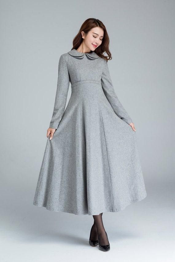 Robe Grise Femmes Robe De Laine Robe Dhiver Robes De Etsy