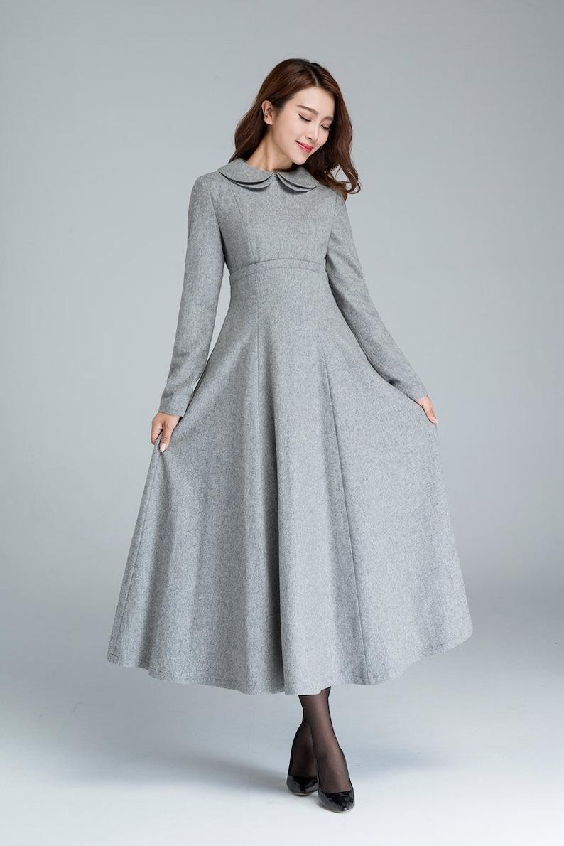 huge discount 575fa aa7a0 Langes graues Kleid, Wollkleid, Winterkleid, Taschenkleid, hoch tailliertes  Kleid, Damenkleid, Fit und Fackel Kleid, benutzerdefinierte Kleid 1613 #