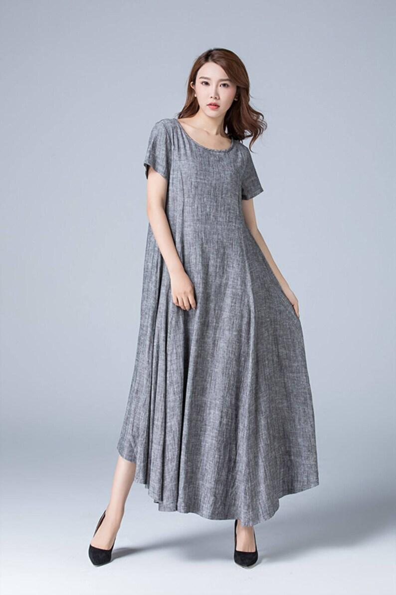 Linen clothes gray dress shift dress pleated dress high | Etsy