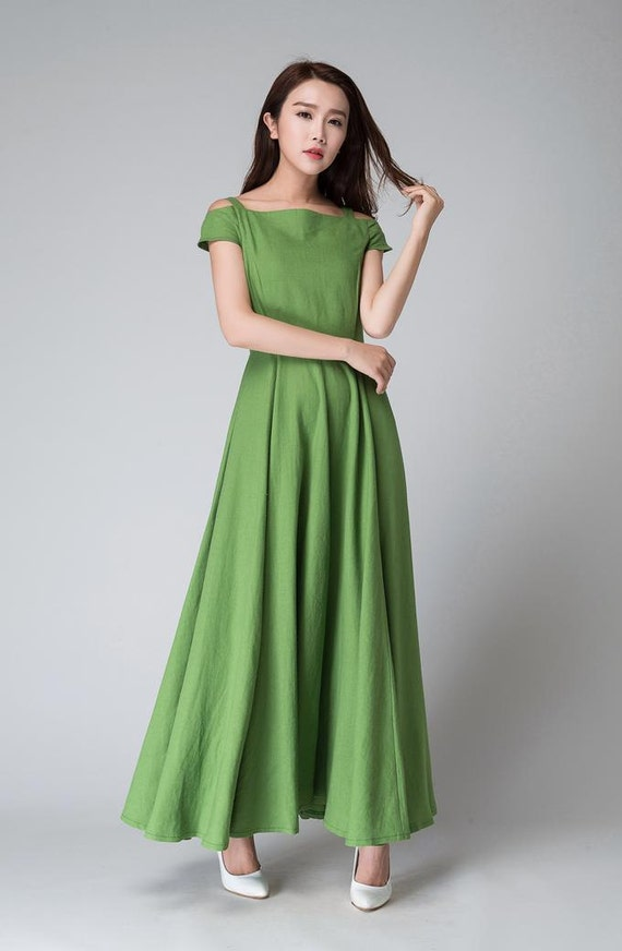 dresses clothing dress length linen dress dress 1531 dress clothing shoulder party mod linen full green maxi dress dress off women SwxUg6qF4S