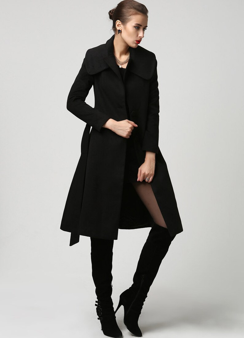 c5acbfa521319 Black wool coat Knee length coat wool coat black coat