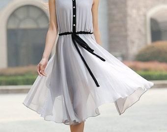grey dress, chiffon dress, knee length dress, sleeveless dresss, cute dress, drawstring waist dress, shirt dress, summer dress (917)
