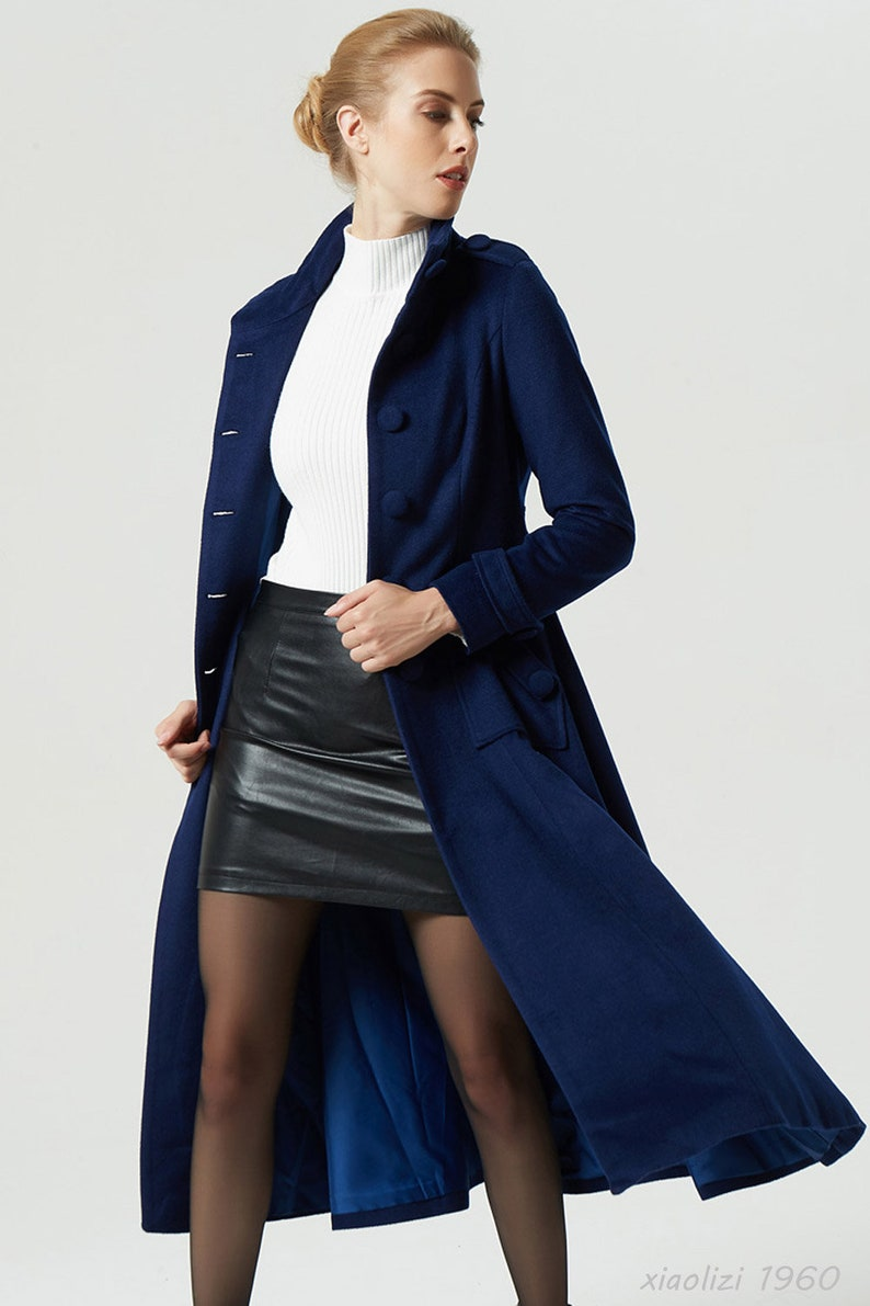 Lange Blauwe Winterjas.Blauwe Jas Wollen Jas Maxi Vacht Militaire Jas Marine Etsy