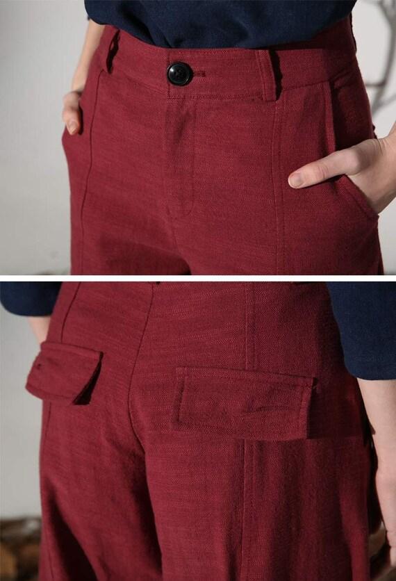 Outlet-Boutique billiger kinder rote Hose, Leinen Hose, Maxi Hose, Damen Hose, lose Hose, lässige Hose,  Sommerhose, Hose mit Taschen, plus Größe Hose 1160 #