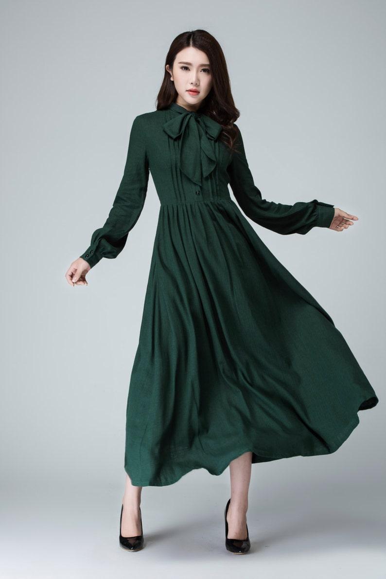 b288a19636c2 Green dress shirt dress maxi dress linen dress long sleeve