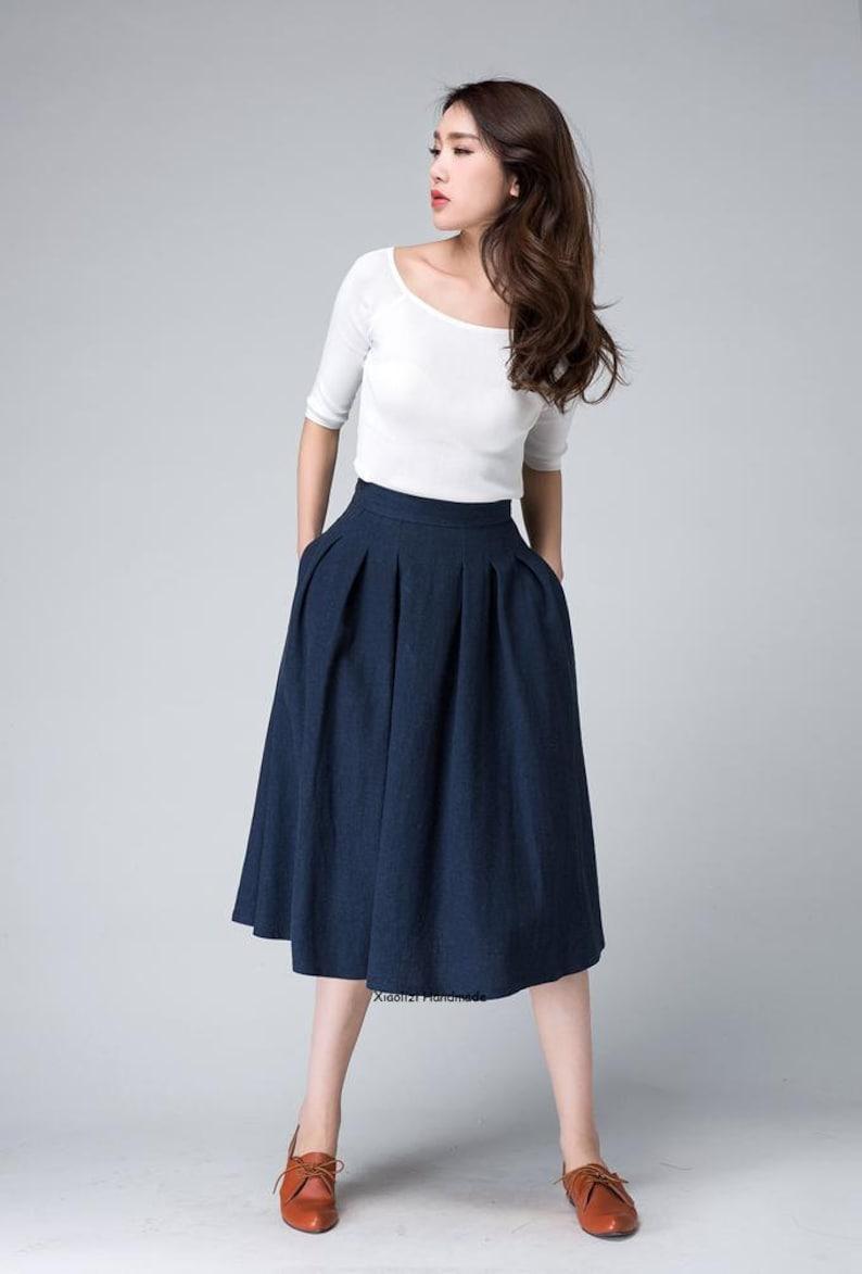 6bb85b021c5b High waist skirt midi skirt knee length skirt dark blue | Etsy