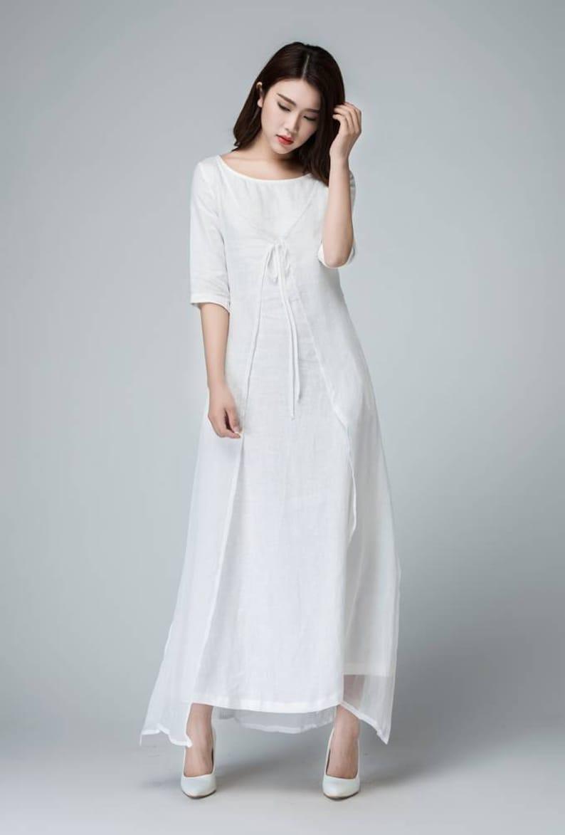 3182096db7f Weißes Leinen Kleid Leinen Kleid Leinen Wickelkleid Frauen