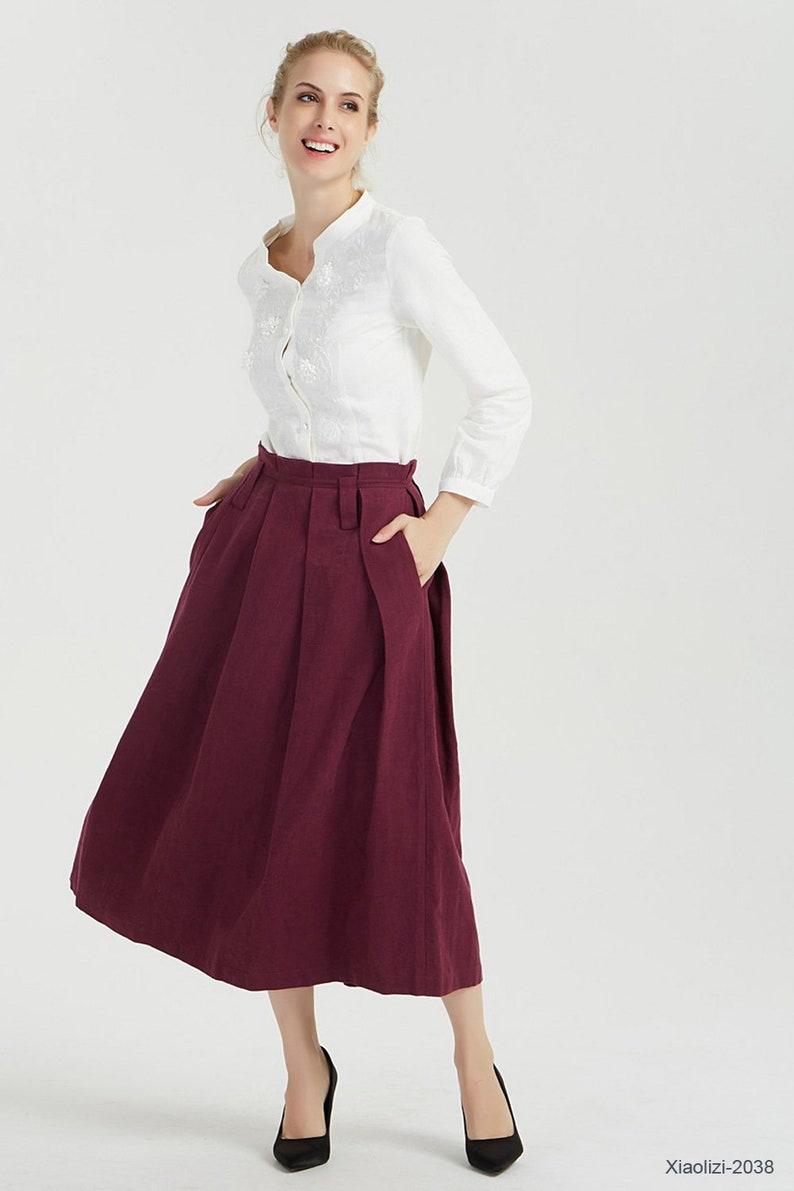 9d70968a13c3 Burgundy skirt linen skirt summer skirt pleated skirt   Etsy
