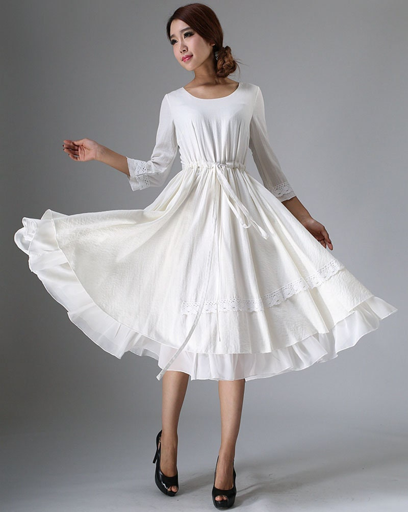 a5ab7c0df744 White dress little white dress tea length dress midi dress