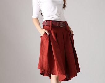Red skirt, linen skirt, pleated skirt, short skirt, knee length skirt, swing skirt, cute skirt, handmade skirt, gift for girlfriend (852)
