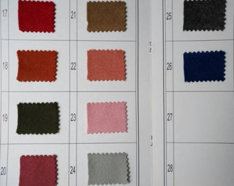 Wool fabric swatch, A beautiful slection of soft wool fabric in gorgeous Colours, Color swatch