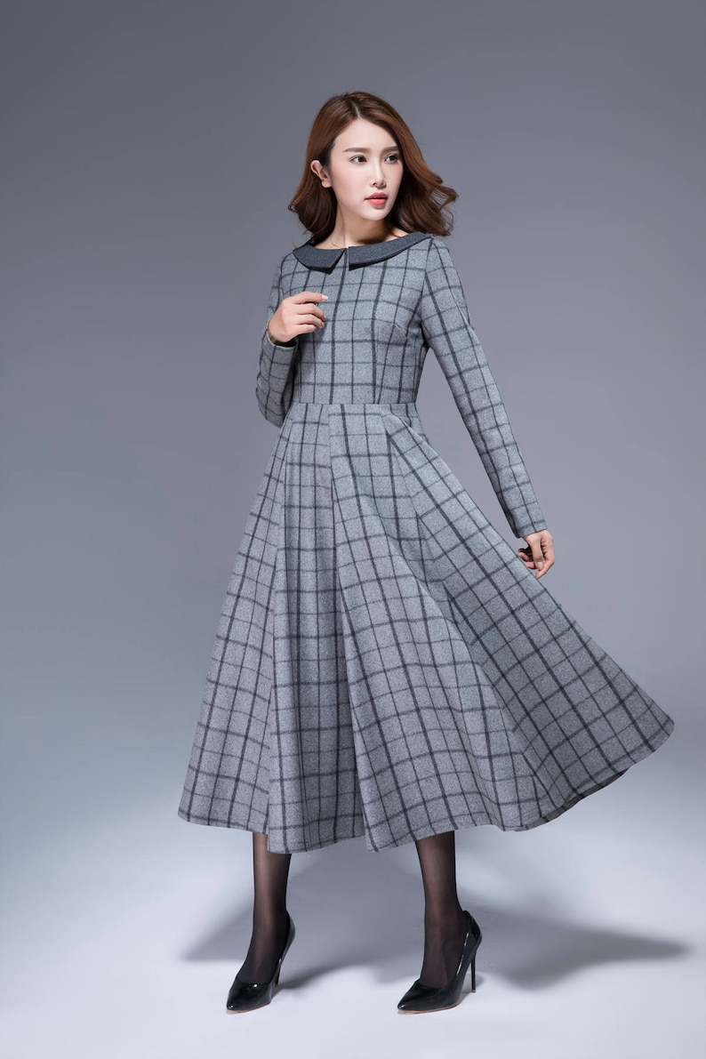 50s dress, plaid dress, warm dress, gray dress, maxi dress, winter dress,  retro dress, pleated dress, swing dress, plus size dress 1814#