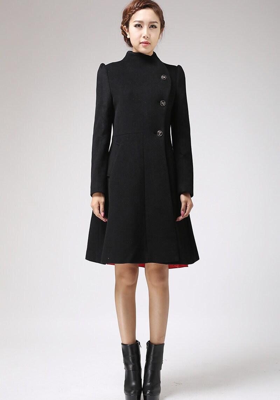 Kleid mantel schwarzer wolle jacke damen jacken etsy - Schwarzer wintermantel damen ...