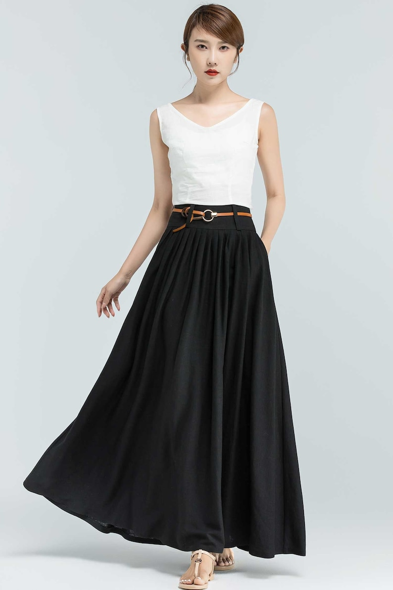 Pleated Maxi skirt outfit for summer Black Skirt Long Linen image 0