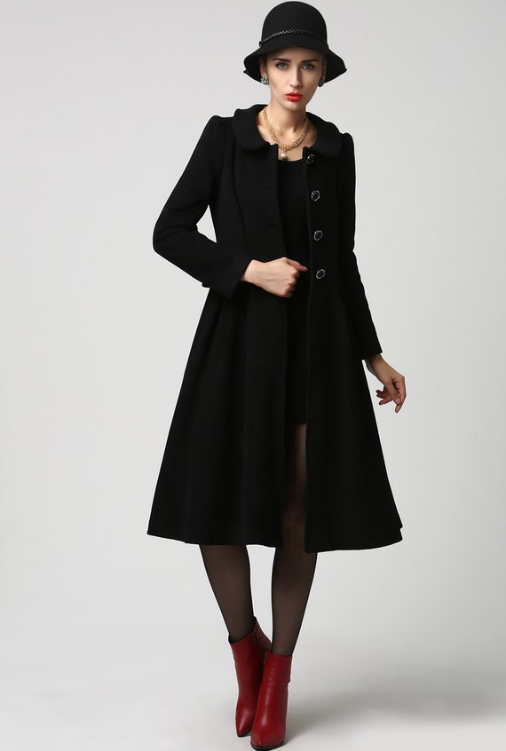 lange schwarze Mantel Jacke aus Schurwolle Frack Damen   Etsy e390ccdac2