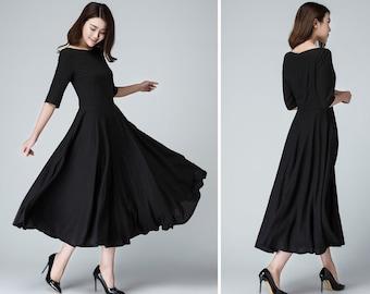 Black linen dress, womens dresses, black dress women, long black dress, Fit and flare dress, boat neck dress, evening gown sleeves 1458#