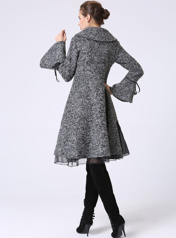wool Coat coat coat designer winter Grey handmade clothing coat Coat Dress Womens Coat Midi coat coat 1052 warm winter Wool 4xdnq1BtXw