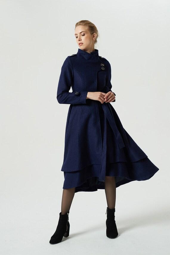 coat coat coat women maxi long tiered coat blue coat warm coat coat 1981 coat wool custom wool winter warm Navy coat coat A7PU44