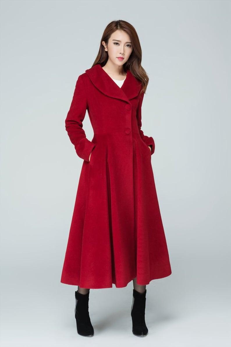1950s Coats and Jackets History     Red wool coat Princess coat winter coat red coat long wool coat fitted coat lapel coat pleated coat women coat handmade coat 1601# $175.00 AT vintagedancer.com
