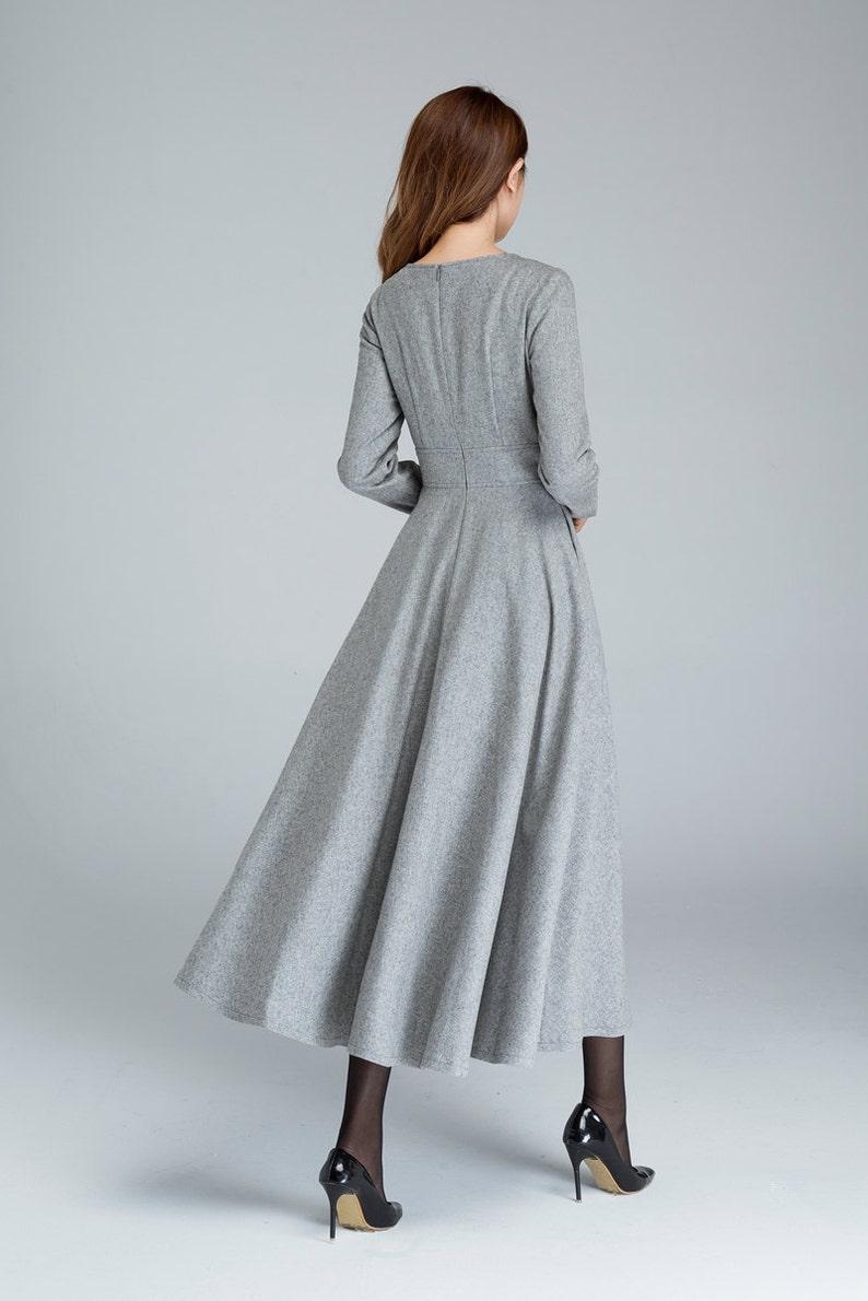 Langarm Wollkleid graues Kleid Wollkleid Frau Kleid fit | Etsy