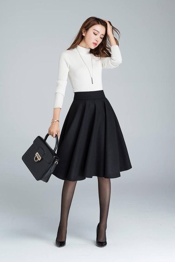 best cheap get online outstanding features Black Wool circle skirt, midi winter skirt, skater skirt, knee length  skirt, woman skirt, pleated skirt, classic skirt, made to order 1633#
