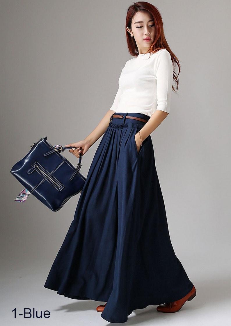 Casual Long Linen Maxi skirt for women Navy skirt High waist 1 -Nave Blue -1046