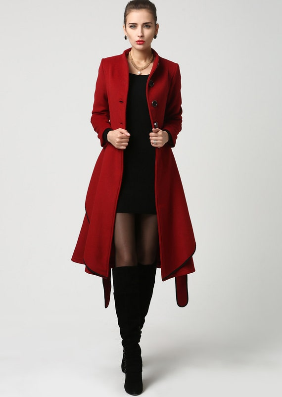 Dark Red Coat Stand Up Collar Wool Coat Winter Coat For Women Plus Size Coat Midi Coat Buttoned Coat Mod Clothing Gift Ideas 1111