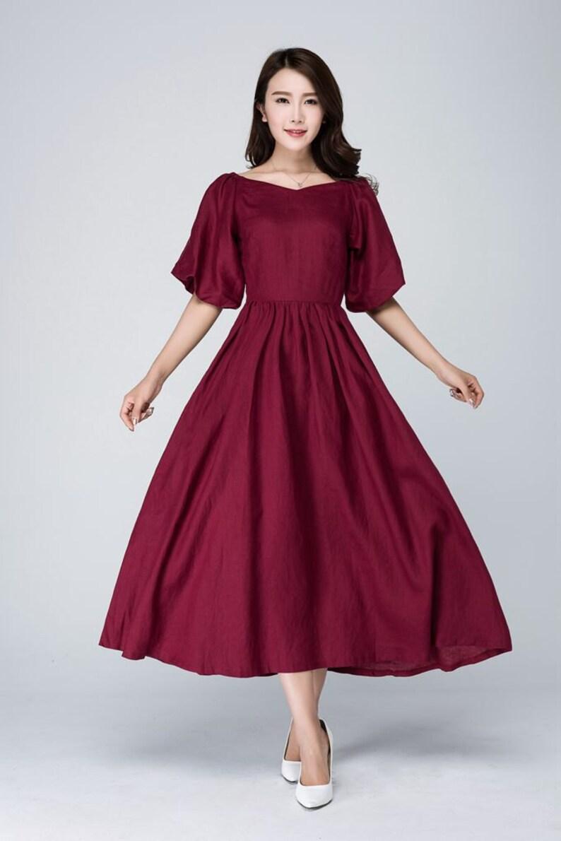 online store 9efd7 a4cb3 abito bordeaux, abito di lino bordeaux, abito di lino, abito romantico,  abito formale, biancheria midi abito, donne abito bordeaux, Custom made  1573 #