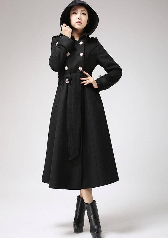 more photos bf368 a13c5 Kapuzen-Mantel, Wollmantel, langen Mantel, schwarzen Mantel, Zweireiher  Mantel, lässiger Mantel, Winterjacke, Oberbekleidung Kleid, Damen Mantel  (707)