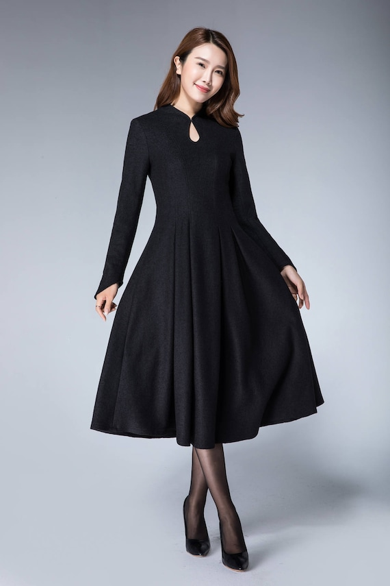 Wool dress, black dress for women, winter dress vintage, 50s dress XL, womens dresses, warm winter dress, fall dress for women 1872#