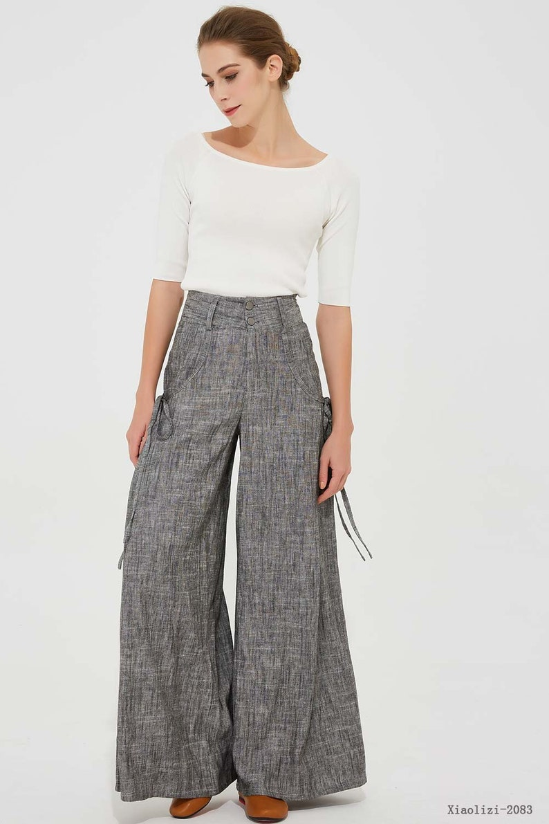 a53f4823b9769 Gray linen pants linen palazzo pants wide leg pant womens