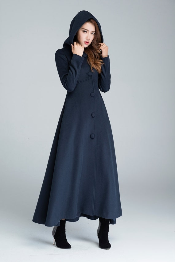 Wool Coat Winter Maxi Navy Blue Warm