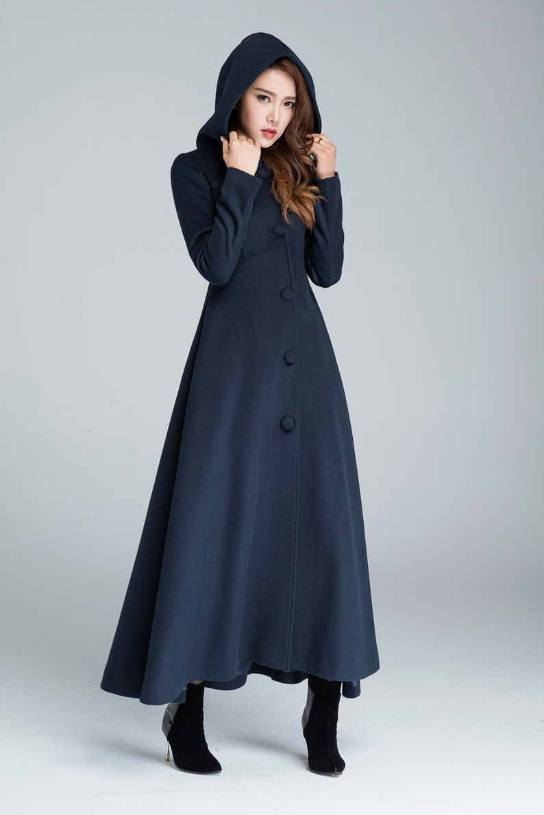 fcb7323842a Wool coat winter coat maxi coat navy blue coat warm winter