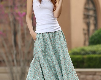 floral skirt, A line skirt, green skirt, womens skirt, summer skirt, custom skirt, floral print skirt, linen skirt, maxi skirt, plus size948