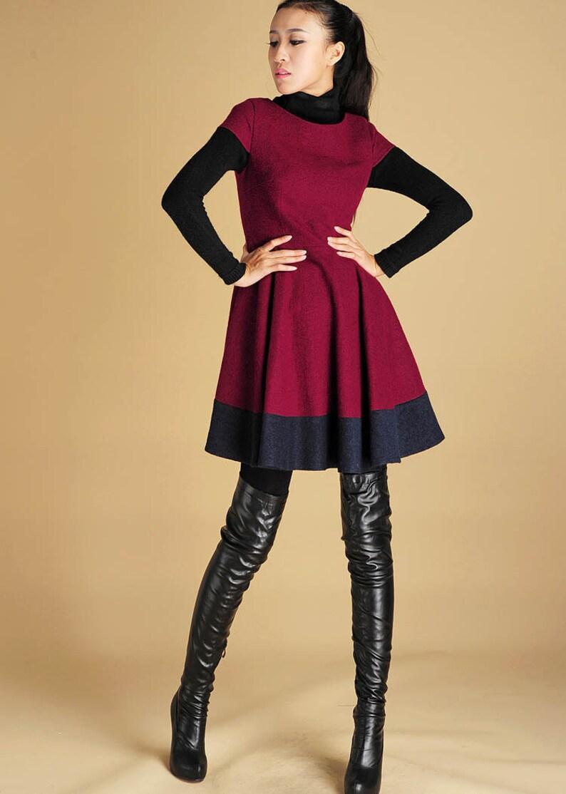 7283e6b991eee7 Designer-Kleid Mini Wollkleid moderne Winterkleid Passform | Etsy