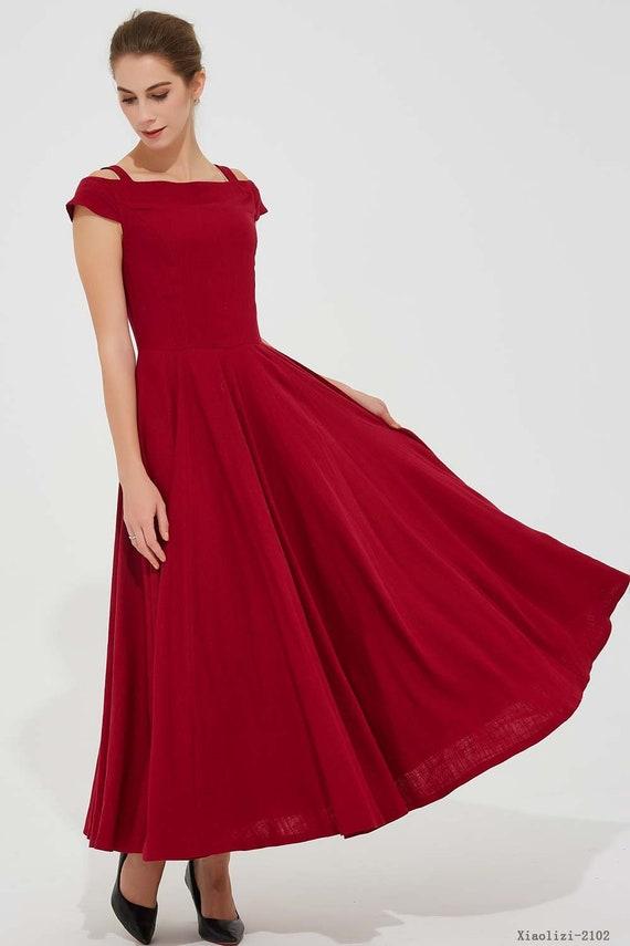 1eb4c7934631 Red maxi dress off shoulder dress long linen dress pleated
