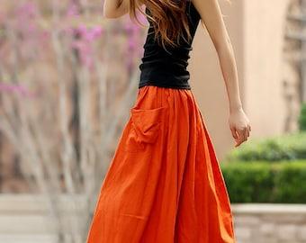 maxi skirt, orange skirt, linen skirt, A line skirt, long linen skirt, womens skirts, summer skirt, elastic waist skirt, handmade skirt  958