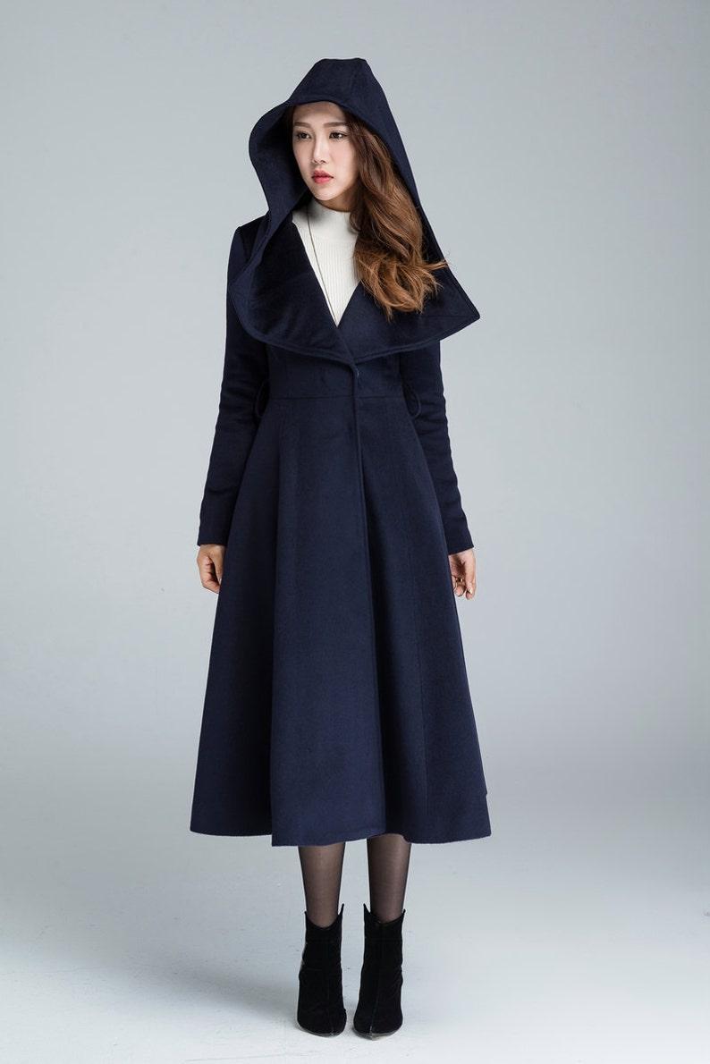 e1f44a77f5 Manteau bleu marine manteau en laine long manteau | Etsy