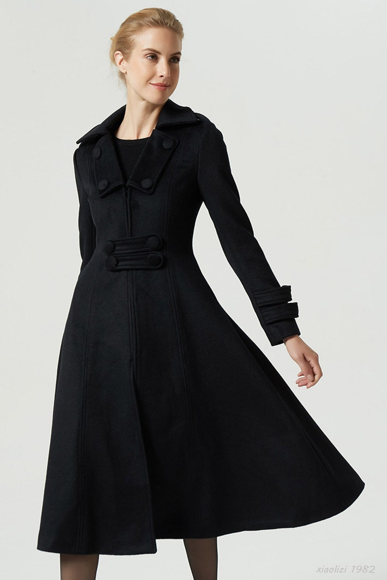 fd456f4e8ecc Black winter coat long coat women wool coat vintage coat