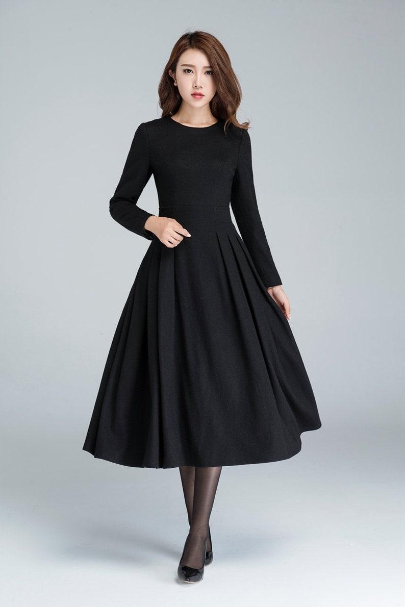 langes schwarzes kleid wollkleid winterkleid lange frauen