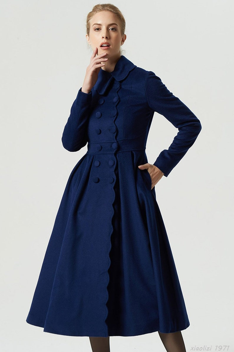 Blu cappotto cappotto lungo cappotto di lana cappotto  fb473b77ee0