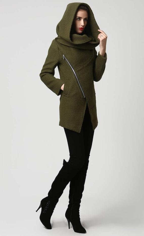 Womens coats with hood wool coat winter coat ladies Army