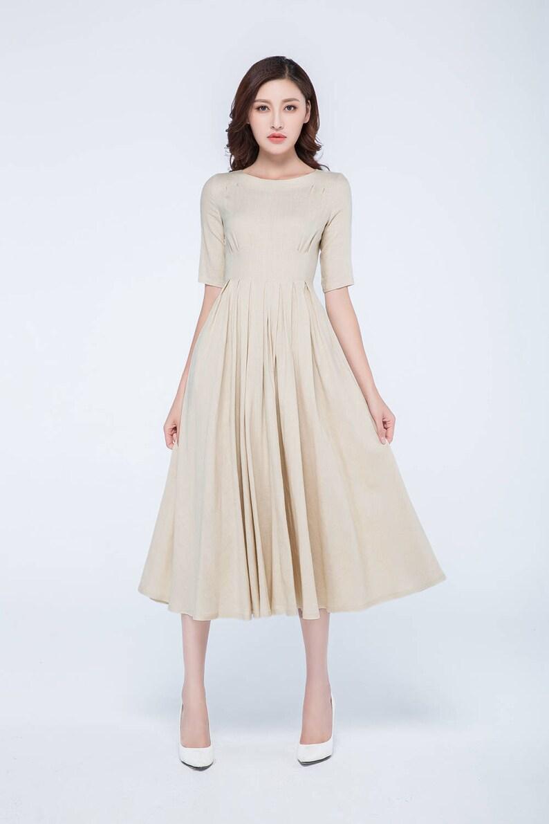 2a346be87ebc Vestito beige donne vita alta abito abito in lino abito a